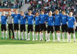 Lähiajal võib suur osa noortekoondislastest pallida võõrsil. Pildil on Eesti U-19 koondis. Foto: Märt Vassiljev (arhiiv)