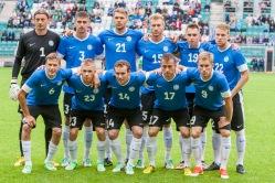 Eesti koondis enne mängu algust. Foto: Gertrud Alatare