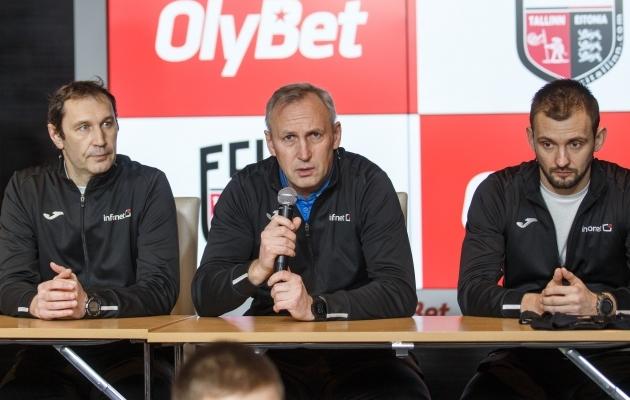 Treenerid Sergei Bragin, Aleksandr Puštov ja Ievgen Stukalov. Foto: Raul Mee / FCI Tallinn