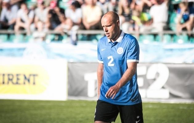 Joel Lindpere enda lahkumismängus Andorra vastu. Foto: Jana Pipar