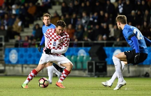 Selle eest, et eestlased eile Real Madridi mehelt Mateo Kovacicilt tuju ära võtsid ja ta mängu neutraliseerisid, tuleb kiita meie mehi. Foto: Imre Pühvel