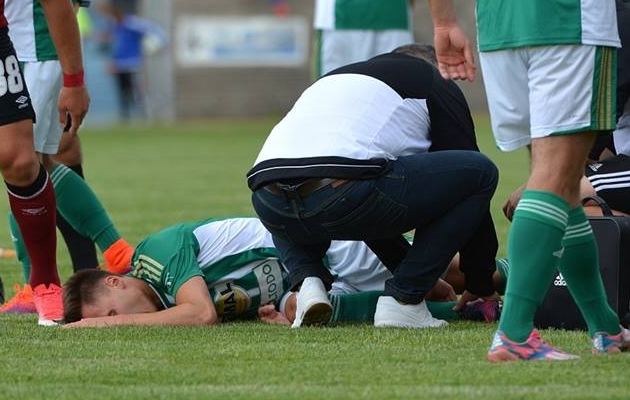 Siim Lutsu vigastus. Foto: Praha Bohemiansi Facebook