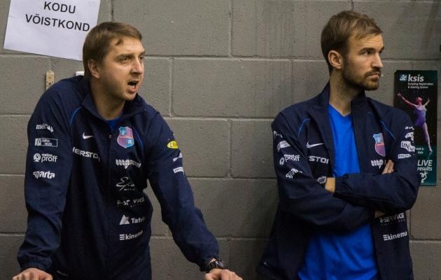 Sahkur (paremal) ja Paide Linnameeskonna peatreener Vjatšeslav Zahovaiko. Foto: Brit Maria Tael
