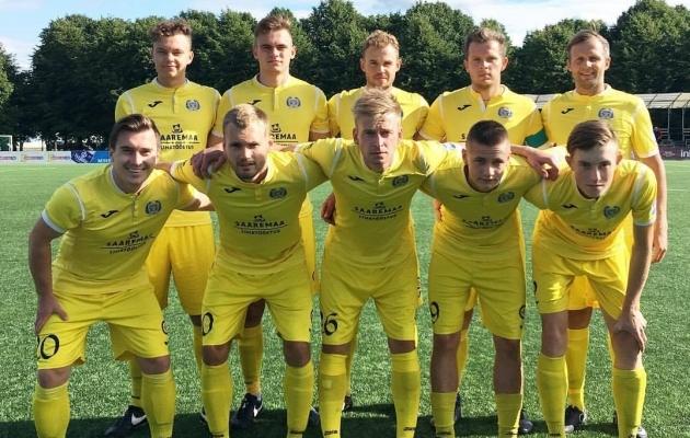 Tiimipildi tegi Kuressaare täna enne mängu ilma väravavahita. Foto: FC Kuressaare Facebook