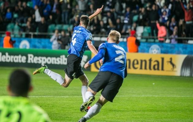 90+2. minut ja Mattias Käit on A. Le Coq Arena just ekstaasi viinud. Foto: Brit Maria Tael