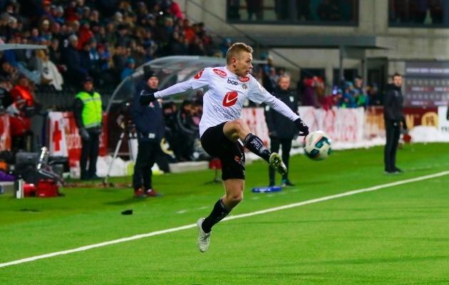 Taijo Teniste realiseeris oma viimases mängus penalti, kuid Sogndalile jäi sellest väheks. Foto: sogndalfotball.no
