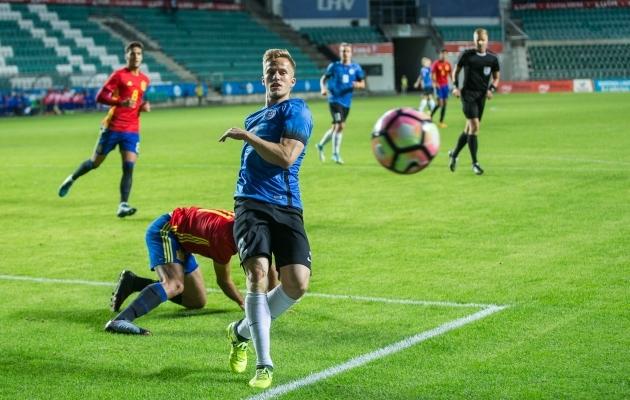 Martin Mägi U21 koondise särgis mängus Hispaania vastu. Foto: Brit Maria Tael