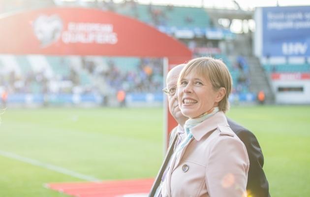 President Kersti Kaljulaid möödunud aastal Eesti koondise mängul. Foto: Brit Maria Tael