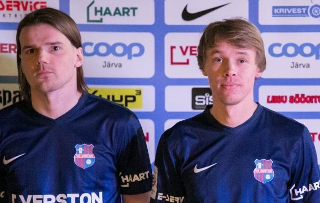 Ian-Erik Valge ja Oleksandr Suhharov tänasel Paide Linnameeskonna esitlusel. Foto: Paide LM Facebook