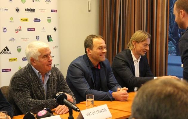 Levadia president Viktor Levada, tegevjuht Sergei Hohlov-Simson ja spordidirektor Sergei Pareiko. Foto: Kasper Elissaar