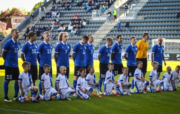 Eesti koondis 2015. aastal Turu staadionil. Toona võideti Soomet 2:0. Foto: Jana Pipar