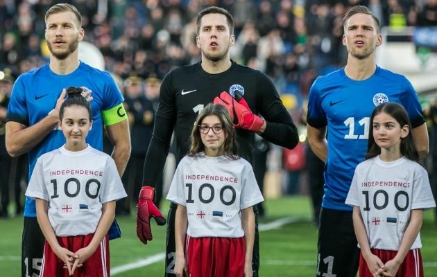 Eesti koondislased Gruusia reisisaatjatega - neilgi on tänavu 100. juubel. Foto: Brit Maria Tael
