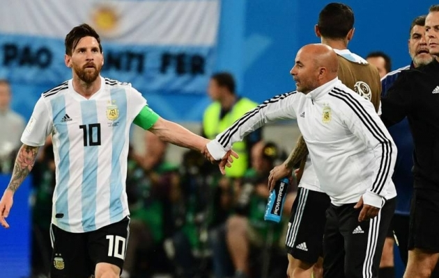 Lionel Messi ja Jorge Sampaoli. Foto: en.as.com