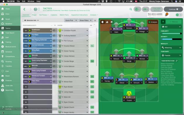 Tänapäeva Football Manageri taktikalehekülg. Foto: fmbase.co.uk