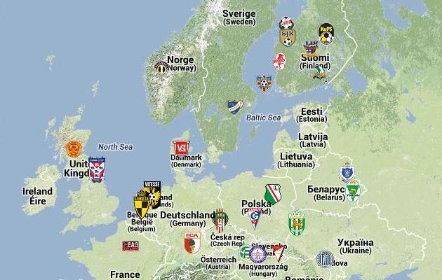 Geograafiatund: Terve Euroopa jalgpalliklubide KAART on lagi põnev uurimine!