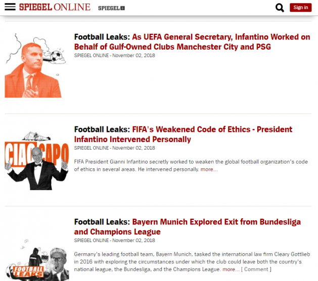 Der Spiegel tuleb pidevalt välja Football Leaksi lekitatud dokumentidega. Foto: ekraanitõmmis