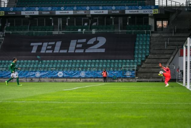 Zakaria Beglarišvili saadab palli värava keskele. Foto: Brit Maria Tael