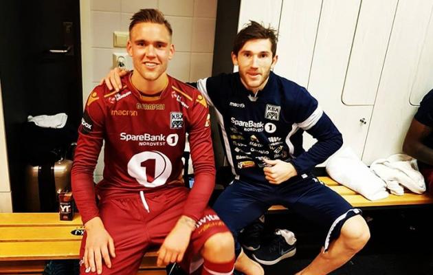 Lepistu (vasakul) pärast debüüti, kus tehti 2:2 viik suure Rosenborgiga. Foto: sotsiaalmeedia