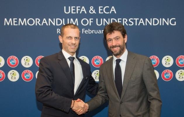 UEFA president Aleksander Ceferin (vasakul) ja Euroopa klubide ühenduse (ECA) juht Andrea Agnelli on tugevad liitlased. Foto: UEFA Twitter
