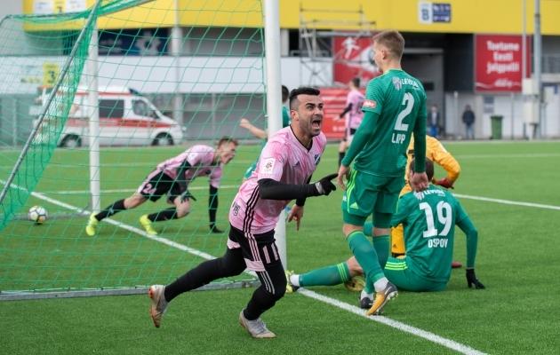 9. vooru keskses mängus lähevad pühapäeval Hiiu staadionil vastamisi Nõmme Kalju ja FCI Levadia, kes kohtusid ka superkarikafinaalis, kus 3:2 võidu sai Kalju. Foto: Liisi Troska