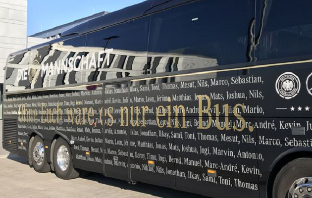Saksamaa koondise buss. Foto: Sport1