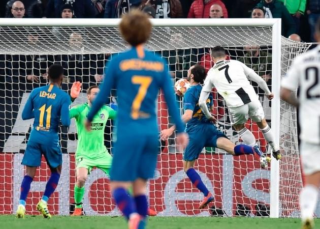 Juventuse 1:0 juhtvärav sündis olukorrast, kus Ronaldo hüppas õhuvõitluses konkreetselt üle Juanfrani. Foto: Torino Juventuse Twitter