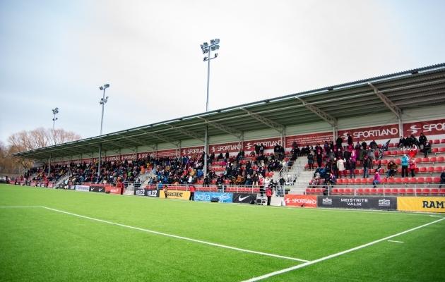 2019. aasta Eesti jalgpallihooaeg algas 3. märtsil peetud superkarikafinaaliga Nõmme Kalju ja FCI Levadia vahel. Foto: Liisi Troska