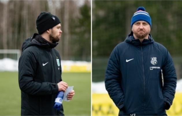 FC Flora peatreener Jürgen Henn (vasakul) ja tema Paide kolleeg Vjatšeslav Zahovaiko. Fotod: Liisi Troska