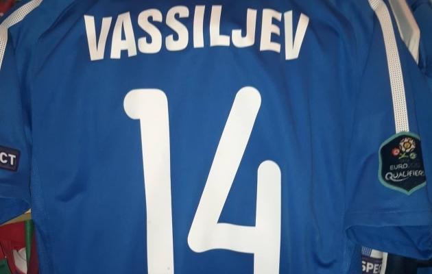 Konstantin Vassiljevi poolt 2011. aasta EM-valikmängus Põhja-Iirimaa - Eesti kantud särk. Foto: erakogu