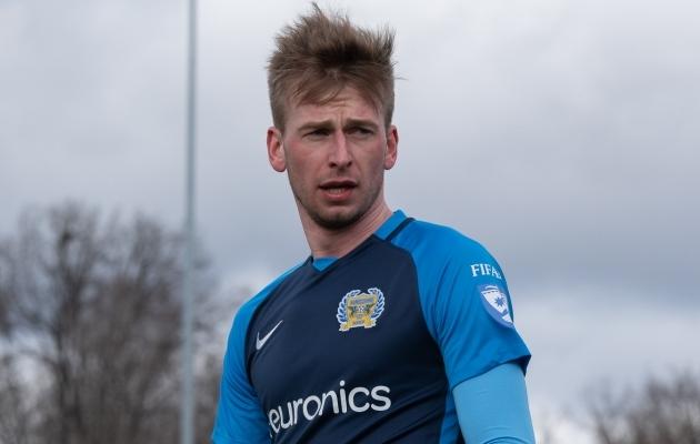 FC Kuressaare võiduvärava autor Sander Laht. Foto: Liisi Troska