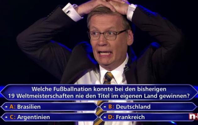 Saatejuht Günther Jauch ei suuda Hartmanni eksimust uskuda. Foto: n-tv