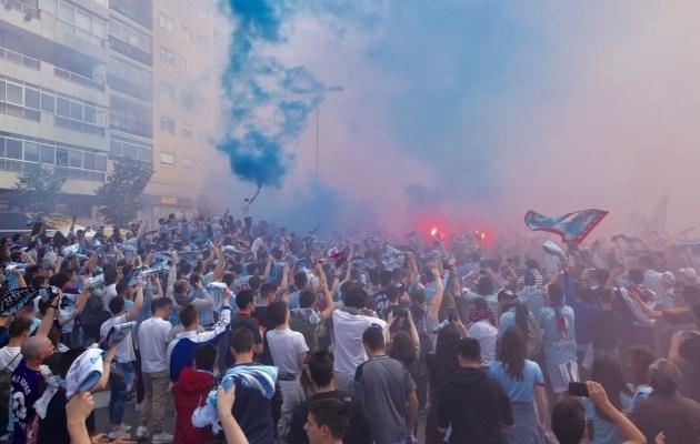 Vigo oskab ka pidutseda. Stseenid pärast võitu Girona üle. Foto: Grada De Rio Twitter