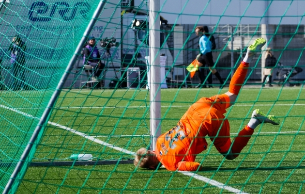 FC Flora väravavaht Richard Aland tegi mitmeid häid tõrjeid. Foto: Oliver Tsupsman