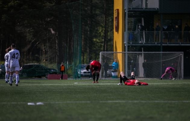 Nagu näha, läks Kalju U21-lt saadud kaotus Nõmme Unitedi mängijatele hinge, mis loob eeldused, et tuliseks ja põnevaks kujunevad ka hooaja järgmised Nõmme derbid. Foto: Brit Maria Tael