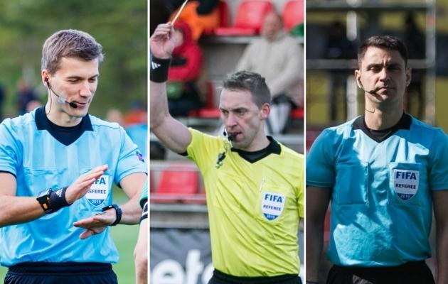 Eestil on kolm FIFA kategooriaga meessoost väljakukohtunikku (vasakult) - Kristo Tohver, Roomer Tarajev ja Juri Frischer. Fotod: Oliver Tsupsman, Brit Maria Tael ja Jana Pipar