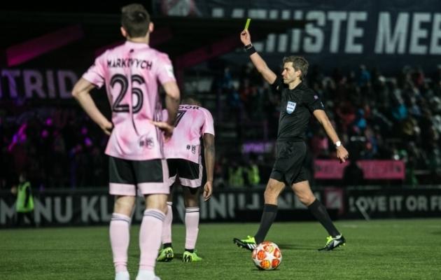 Nõmme Kalju ja FC Flora mängu vilistas Kristo Tohver. Foto: Brit Maria Tael