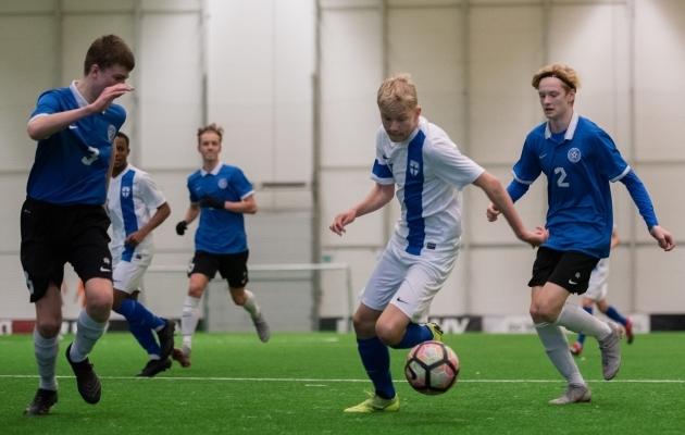 Võistkondade märtsikuine omavaheline kohtumine EJLi jalgpallihallis. Foto: Liisi Troska / Jalgpall.ee