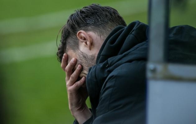 FC Flora peatreener Jürgen Henn meeskonnale hooaja esimese kaotuse toonud Tallinna derbi ajal. Foto: Brit Maria Tael