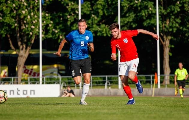 Edgar Tur U23 koondise 2:0 võidumängus Inglismaa C koondise vastu. Foto: Oliver Tsupsman