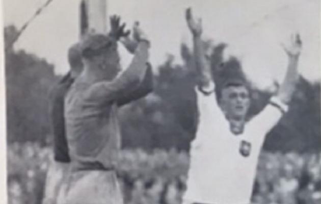 Sakslased on äsja viigivärava löönud. Või siiski mitte? Foto: Kicker, 1937