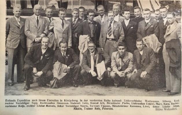 Eesti koondis pälvis ootamatult suurt tähelepanu. Foto: Kicker, 1937