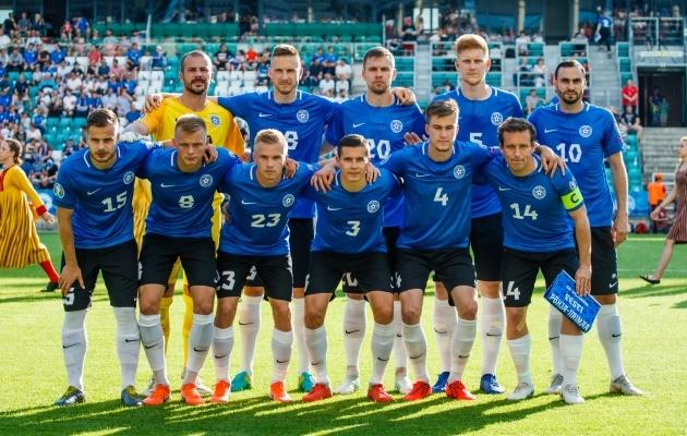 Eesti koondis enne juuni alguses A. Le Coq Arenal peetud MM-valikmängu Põhja-Iirimaaga. Foto: Oliver Tsupsman