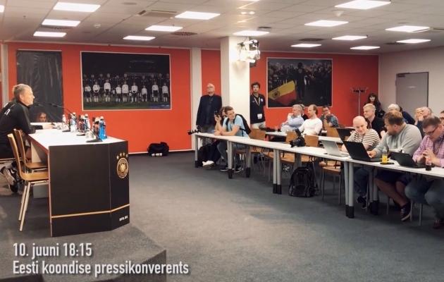 Eesti jalgpallikoondise pressikonverents Mainzis. Foto: kuvatõmmis videost