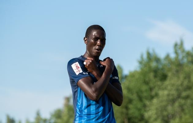 Paide Linnameeskonna ründaja Alassana Jatta lõi kolmapäeval FC Kuressaarele viis väravat. Foto: Liisi Troska