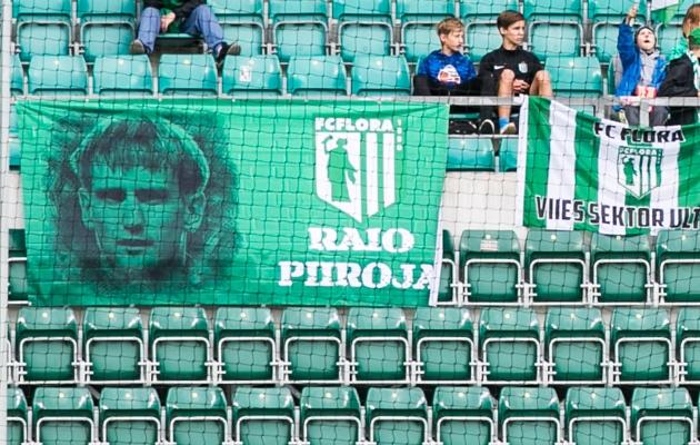 FC Flora fännide lipp, mis pühendatud Raio Piiroja 40. sünnipäevale. Foto: Brit Maria Tael