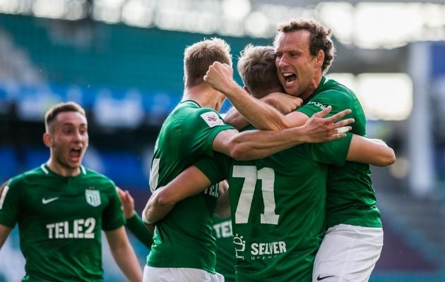 FC Flora rõõmustab 1:0 värava üle. Aga läks veel paremaks! Foto: Brit Maria Tael