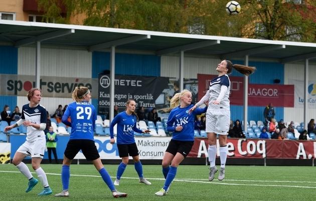 Tartu Tammeka ja Saku Sporting on kaks naiskonda neljast, kes homme võistlustulle lähevad. Foto: Imre Pühvel