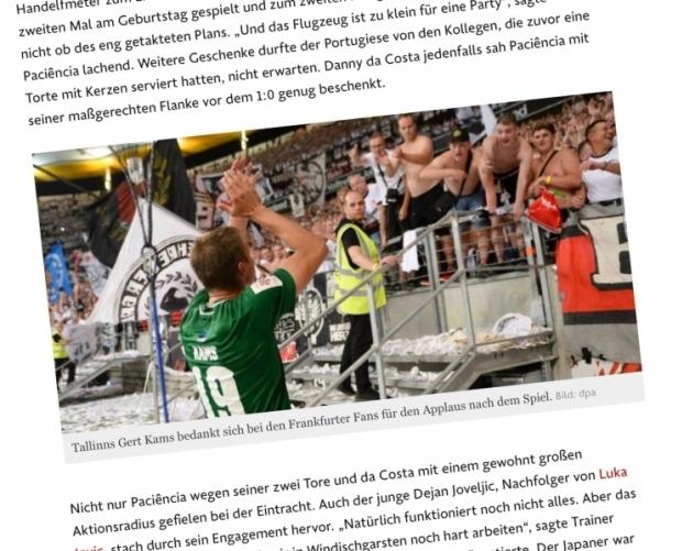 Kapten Gert Kams Frankfurdi fänne tänamas. Foto: Andres Must/faz.de