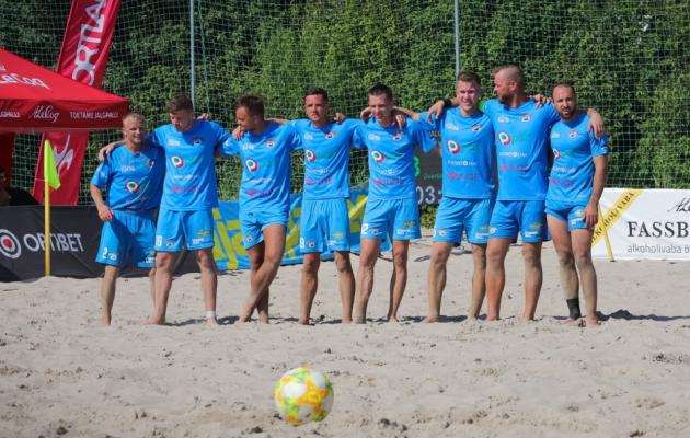 Üksjalgvärav. Foto: Ants Liigus/Eesti Rannajalgpalli Liit/Beach Soccer Estonia FB