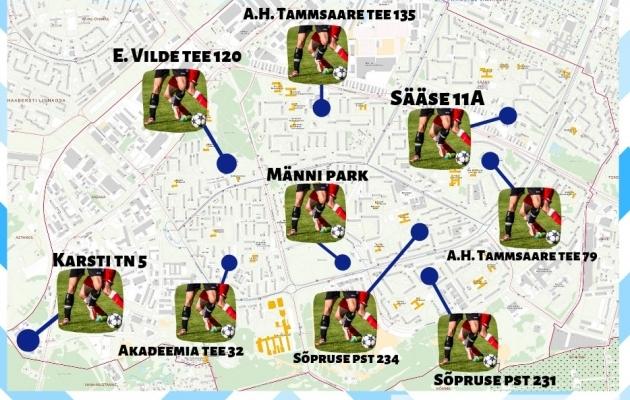 Kaart Mustamäe jalgpalliplatsidega. Foto: Mustamäe linnaosa valitsuse Facebooki leht